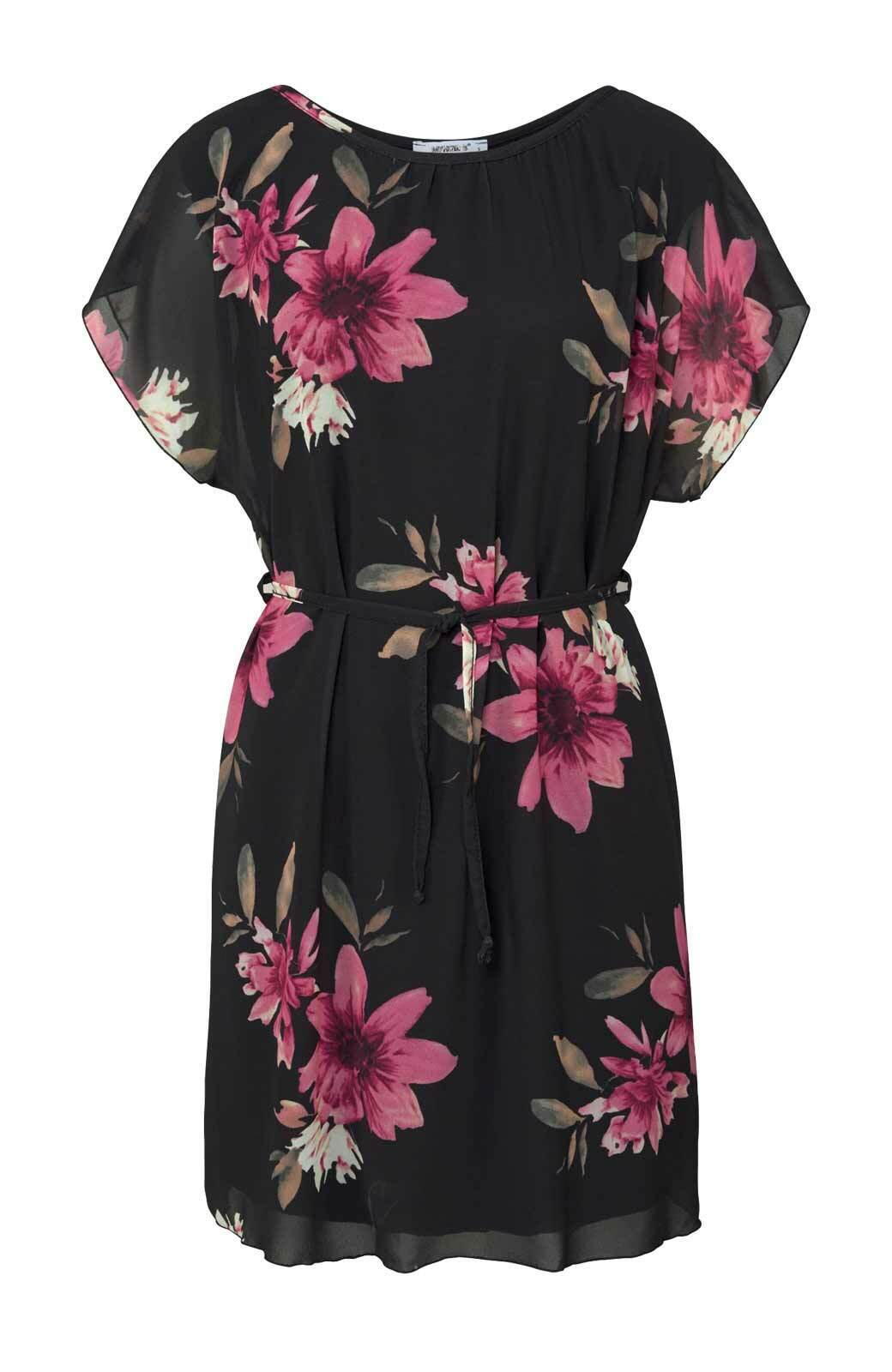 Kleid Hailys schwarz bunt Blumen kurz ausgestellt Gr L M XL