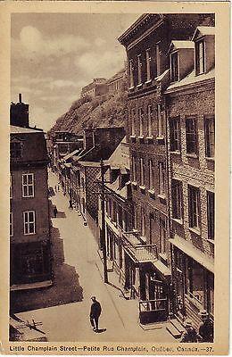 Canada Quebec City   Petite Rue Champlain Old Unused Sepia Postcard