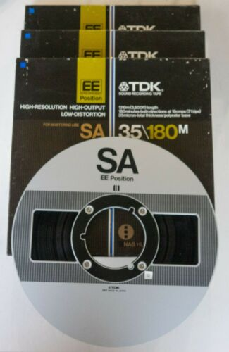 Lot of 3 TDK SA 35/180M 3600ft of 1/4in EE Tape - Metal Reels EXCELLENT