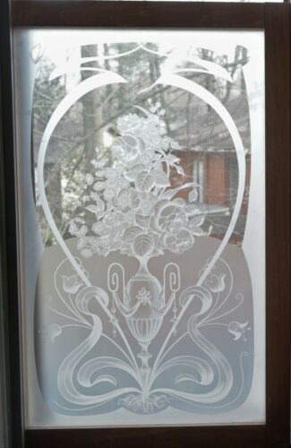 "Antique French Acid Etched Glass Window with wood frame 36"" x 24"""