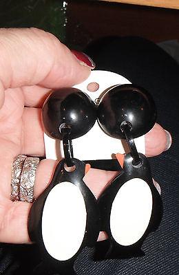 earrings marion godart dangling penguin birds clip huge chandelier black vanilla
