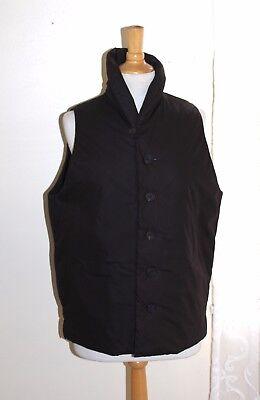 Eskandar -Sz 0 Elegant Brown Minimalism Polished Cotton Padded Outer Vest Coat