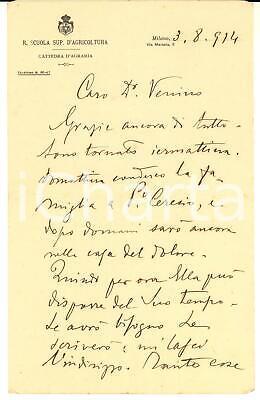 1914 MILANO Agronomo Vittorio ALPE trasferisce la famiglia - Lettera AUTOGRAFA comprar usado  Enviando para Brazil