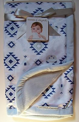 Boys Blankets & Beyond Gray White Blue Indian Bear Teepee Soft Baby Blanket NWT