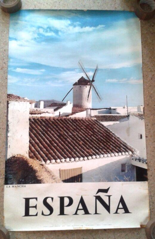 Vintage travel poster rare Spain Espana Castilla-La Mancha wind mills