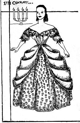 "12.5"" Sewing Manikin Doll Pattern Helen Huntington Jones 17Th Century Rare Copy"