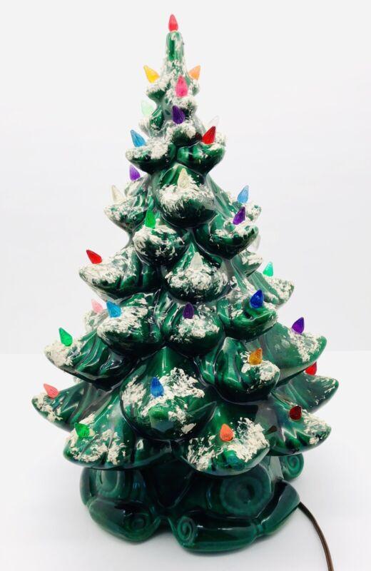 "Vintage Green Ceramic Flocked Christmas Tree Lamp Multi Colored 17"" Atlantic EUC"