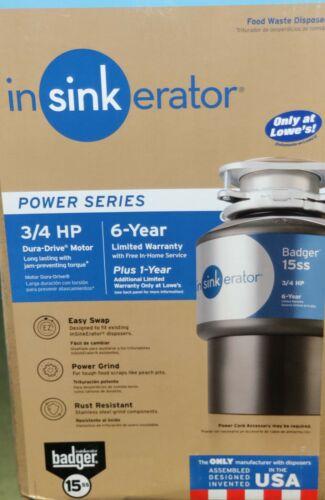 InSinkErator Badger 15SS 3/4hp 120V Garbage Disposal