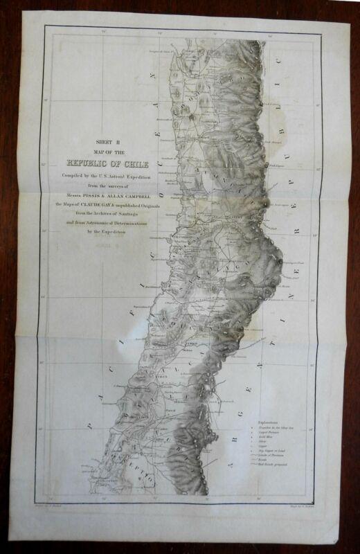 Republic of Chile Conception Santiago 1855 U.S. Astronomical Expedition map