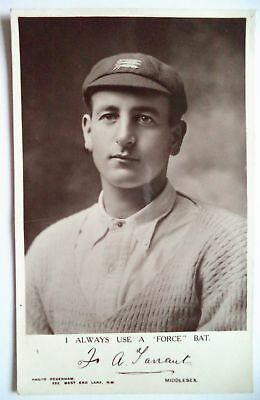 FRANK TARRANT MIDDLESEX CRICKETER 1912 FORCE BAT SERIES CRICKET POSTCARD