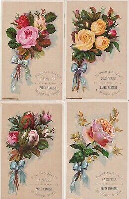 SUPER Set 4 LG Victorian Trade Cards - Roses Painters Wallpaper Grand Rapids MI