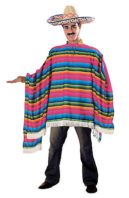 Mexican Serape & Sombrero Adult Mens Costume Colorful Hat Halloween Theme Party - Color Themed Halloween Costumes