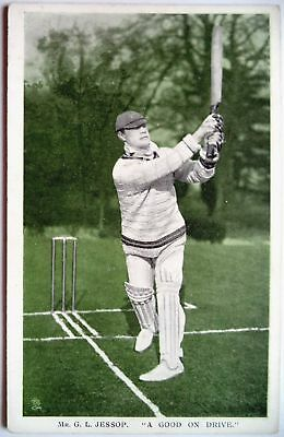 "GILBERT JESSOP GLOUCESTER & ENGLAND 1907 ""IN THE OPEN RAPH TUCK CRICKET POSTCARD"