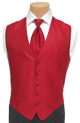 Men's Red Herringbone Fullback Tuxedo Vest and Long Tie Set Wedding Cruise Prom