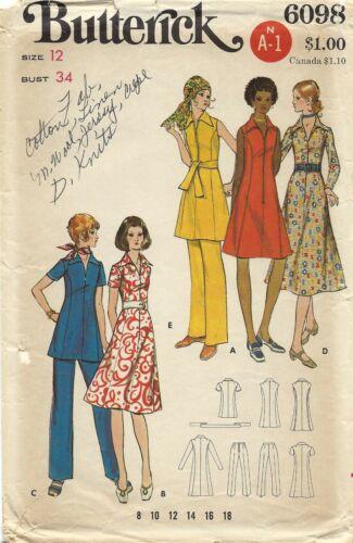 Butterick 6098 One-Piece Zip Front Dress or Tunic & Pants Sz 12 UNCUT Pattern