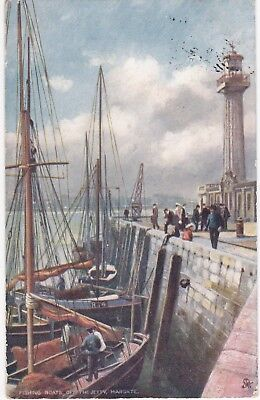 Artist Drawn, Fishing Boats Off The Jetty, MARGATE, Kent - Tuck Oilette