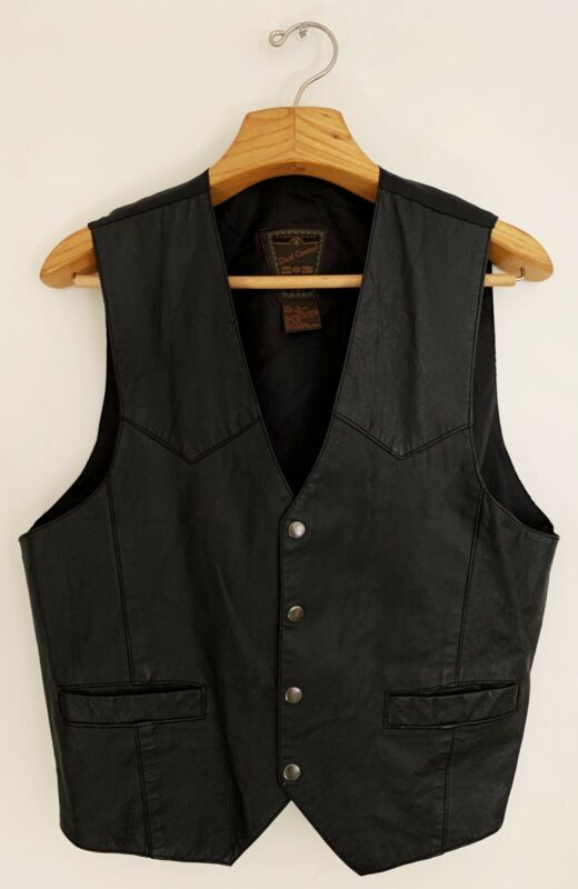 Vintage DUAL CONTROL Mens Leather Vest Sz L Black Pockets Snap Button