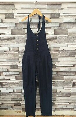 VTG RETRO WOMENS BLUE BUTTON UP BACKLESS SMART DUNGAREE ALL IN ONE JUMPSUIT UK M