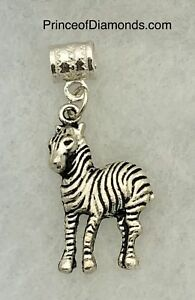 New! Silver coloured zebra bead fits pandora bracelet
