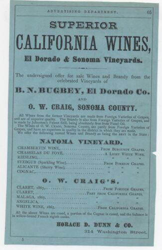 1870s Advertisement for Superior California Wines Sonoma & El Dorado Vineyards