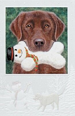 Chocolate Labrador Retriever Lab Pup Embossed Christmas Cards Box of 16 for sale  USA
