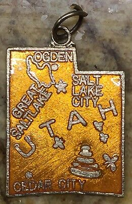 Vintage Orange Copper Utah State Houston Salt Lake Cedar City enamel charm - Costumes Salt Lake City