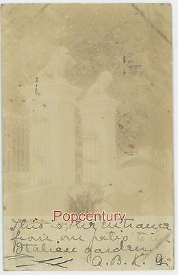 Brazil Postcard RPPC 1905 Porto Alegre Entrance Patio Garden Posted to USA