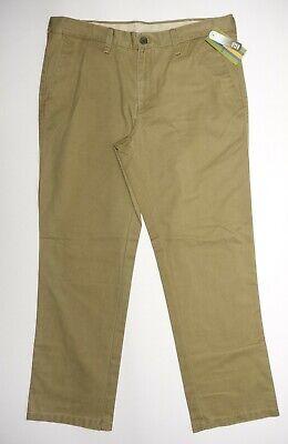 Mens Haggar Life Khaki Chino Pants 36x30 Flat Front Straight Fit Sand Washed ()