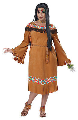 Classic Indian Maiden Pocahontas Adult Plus Size Costume - Plus Size Pocahontas Costume