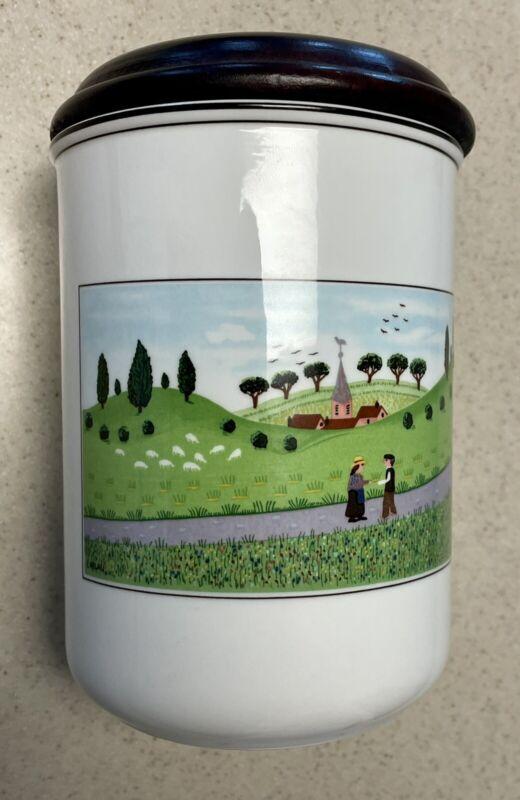 "Villeroy & Boch NAIF Farm Scene Storage Canister Jar 6"" Tall with Wood Lid"