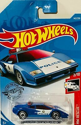 2019  Hot Wheels Lamborghini Police Car #142/250 [Blue] HW Rescue Diecast Lamborghini Police Car