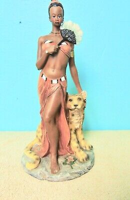 African Lady with  Her Pet Leopard Figurine Multi-colored red  black greens   for sale  Shipping to Nigeria