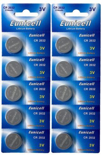 10 x CR2032 ( 3V 210 mAh ) Lithium Batterie auf 2 Blistercard a 5 Stück Eunicell