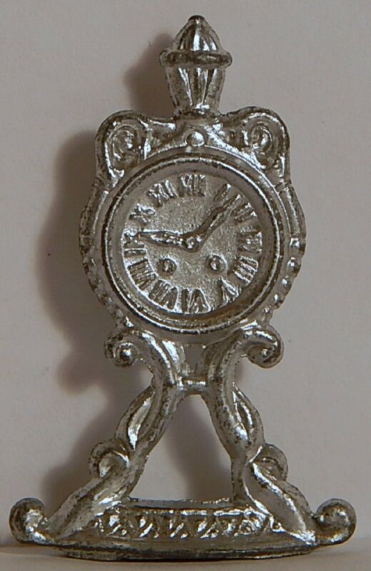 VINT PRE-1910 CRACKER JACK ORNATE VICT CLOCK TIMEPIECE STANDUP METAL SILVER