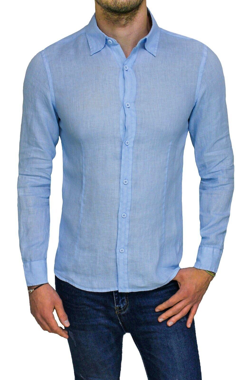 Camicia di lino uomo Diamond casual nera primavera estate slim fit da S a XXL