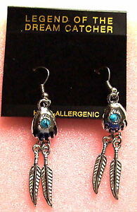 Ohrring Bärentatze Feder Perle Ohrhänger Earrings Bearclaw Ohrschmuck Indianer