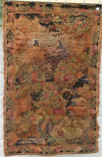 """Fine  Antique Hand Woven Tapestry, Great Color, Condition 40"""" x 64"""""""