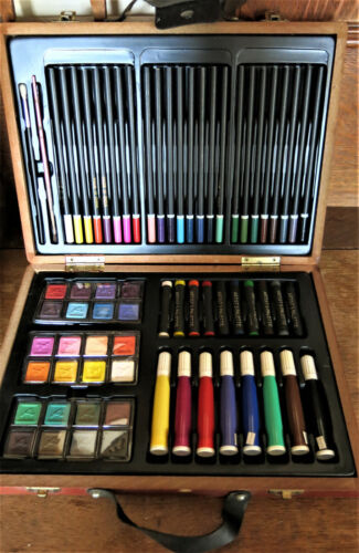 70-Piece Art Drawing Set Artist Sketch Kit Paint Pencil Pastel Wooden Case Box