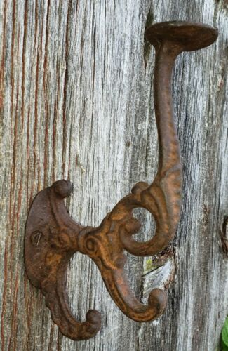 (Choice) of 1 or more from 11 ANTIQUE LARGE CAST IRON HOOKS FANTASTIC PATINA