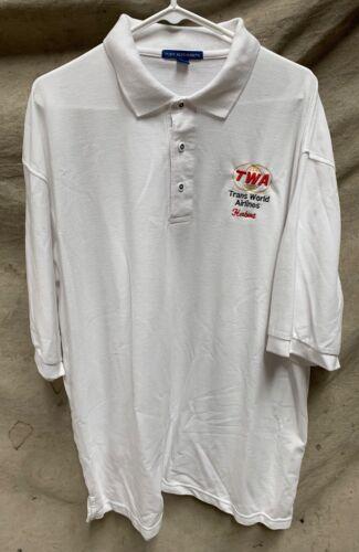 Vintage TWA Trans World Airlines Mens 2XL Collar Shirt (A8)