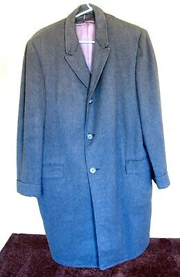 Length Charcoal Top Coat - Pinstripe Charcoal  Grey 3/4 Length Winter Three Button Overcoat