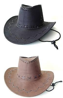 Cowboyhut Westernhut Cowboy Hut Wildleder-Optik Lederoptik für (Hut Cowboy Wildleder)