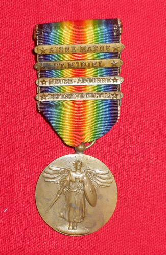 WW1 US VICTORY MEDAL WITH 4 BARS