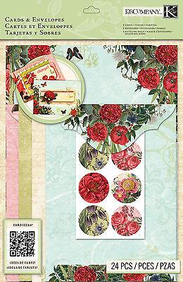 Card Kit Beyond Postmarks Botanical B Create 8 Cards & Envelopes K&company