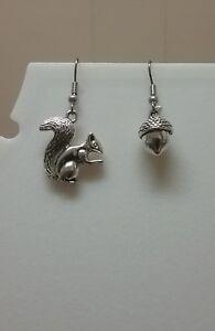 Squirrel and acorn earrings