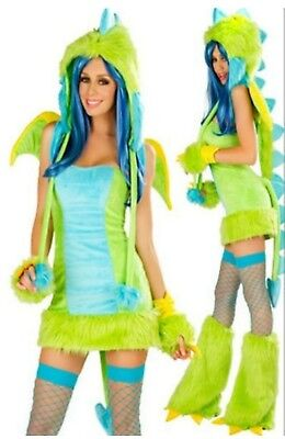 Gorgeous Green Blue Dragon Sexy Women's Furry full Costume MED NEW