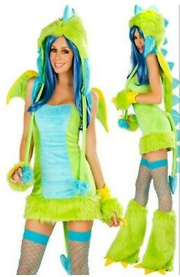 Gorgeous Green Blue Dragon Sexy Women's Furry full Costume MED NEW (Green Furry Costume)
