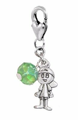 August Birthstone Little Boy Baby Green Crystal Clip Dangle Charm for Bracelets