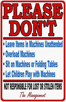 Laundromat Rules Info Sign. Size Options. Laundry Service Washing Machine