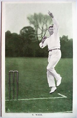 "TOM WASS NOTTINGHAMSHIRE 1907 ""IN THE OPEN"" RAPH TUCK CRICKET POSTCARD"